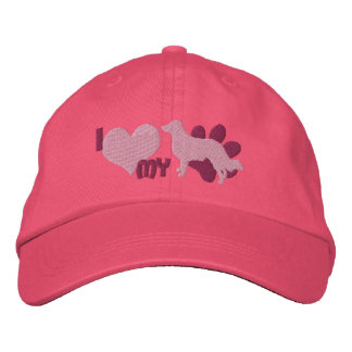 I Love my English Shepherd Embroidered Hat Pink
