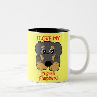 I Love My English Shepherd - Kawaii Cute Two-Tone Coffee Mug