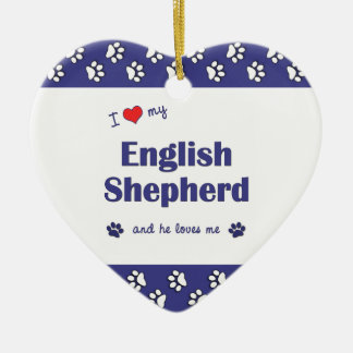 I Love My English Shepherd Male Dog Christmas Tree Ornament