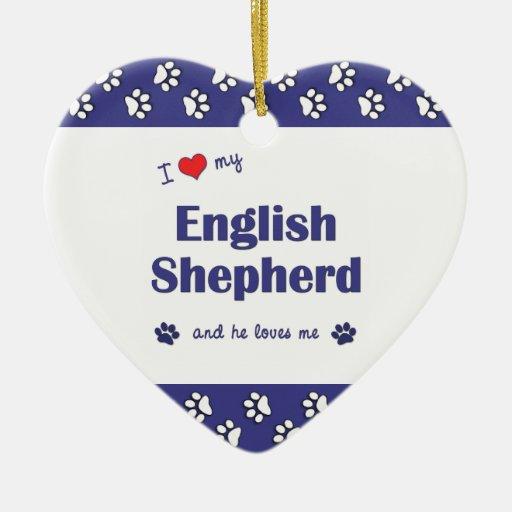 I Love My English Shepherd (Male Dog) Christmas Tree Ornament