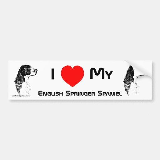 I Love My English Springer Spaniel Bumper Sticker Car Bumper Sticker
