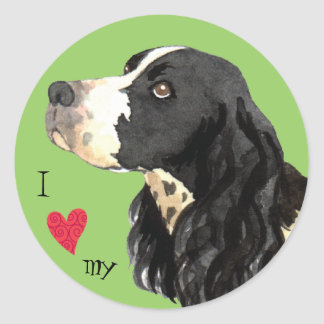 I Love my English Springer Spaniel Classic Round Sticker