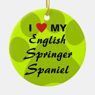 I Love My English Springer Spaniel Double-Sided Ceramic Round Christmas Ornament