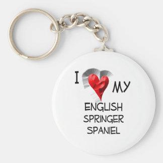 I Love My English Springer Spaniel Keychain