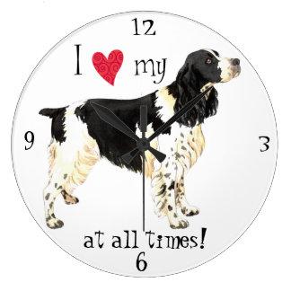 I Love my English Springer Spaniel Large Clock