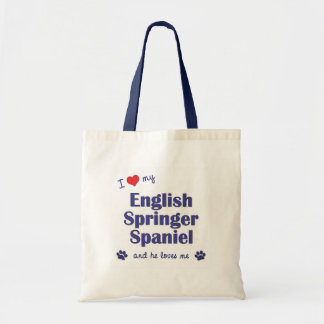 I Love My English Springer Spaniel (Male Dog) Tote Bag
