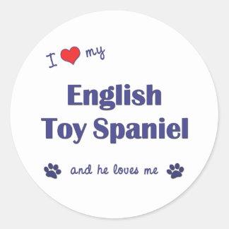 I Love My English Toy Spaniel (Male Dog) Round Sticker