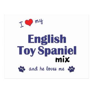 I Love My English Toy Spaniel Mix (Male Dog) Postcard