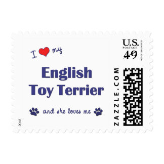 I Love My English Toy Terrier (Female Dog) Stamps