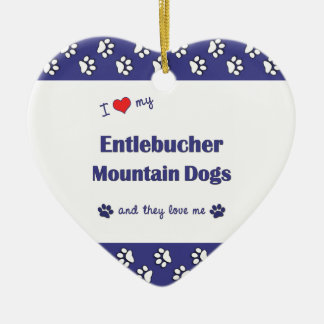 I Love My Entlebucher Mountain Dogs (Multi Dogs) Double-Sided Heart Ceramic Christmas Ornament
