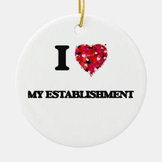 I love My Establishment Double-Sided Ceramic Round Christmas Ornament