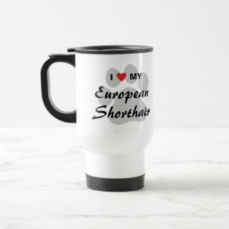 I Love My European Shorthair Pawprint Design Travel Mug