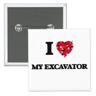 I love My Excavator 2 Inch Square Button