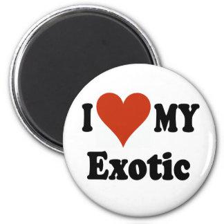 I Love My Exotic Cat Merchandise 2 Inch Round Magnet
