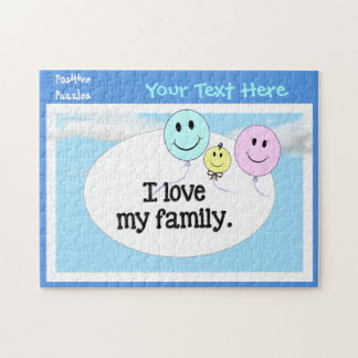 I Love My Family Affirmations Blue Pink Balloons Jigsaw Puzzle