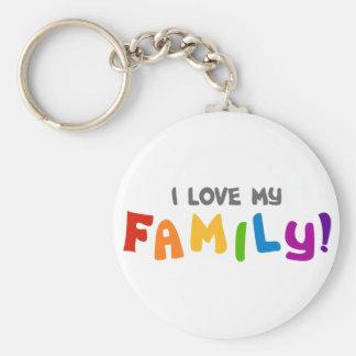 I Love My Family Basic Round Button Keychain