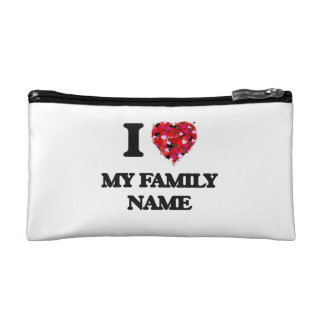 I Love My Family Name Cosmetic Bags