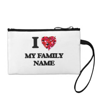 I Love My Family Name Coin Wallets