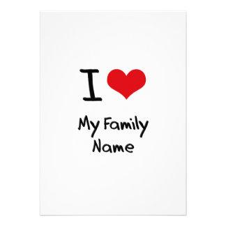 I Love My Family Name Custom Announcements