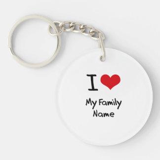 I Love My Family Name Single-Sided Round Acrylic Keychain
