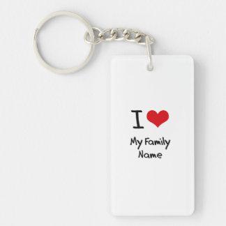 I Love My Family Name Single-Sided Rectangular Acrylic Keychain