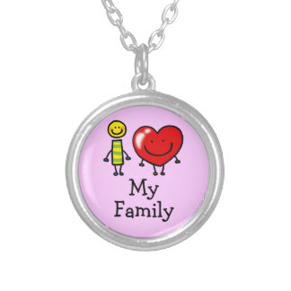 i love my family round pendant necklace