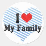 I Love My Family Round Stickers