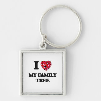 I Love My Family Tree Silver-Colored Square Keychain