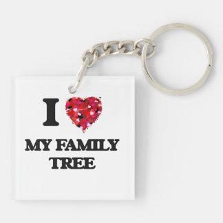 I Love My Family Tree Double-Sided Square Acrylic Keychain