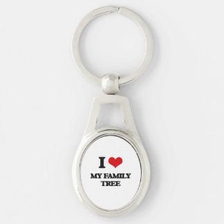 I Love My Family Tree Silver-Colored Oval Metal Keychain