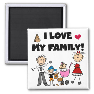 I Love My Family Tshirts and Gifts 2 Inch Square Magnet