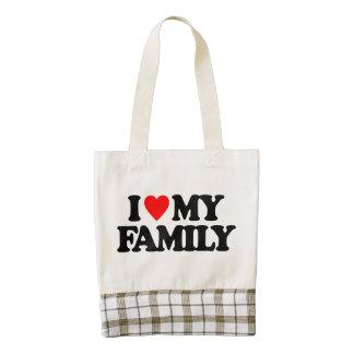 I LOVE MY FAMILY ZAZZLE HEART TOTE BAG