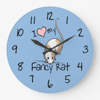 I Love My Fancy Rat Round Clock