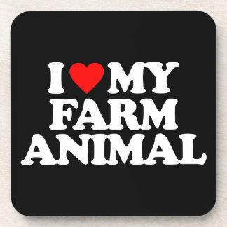 I LOVE MY FARM ANIMAL BEVERAGE COASTERS