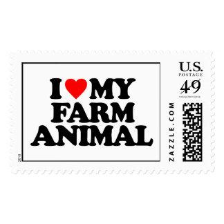 I LOVE MY FARM ANIMAL POSTAGE