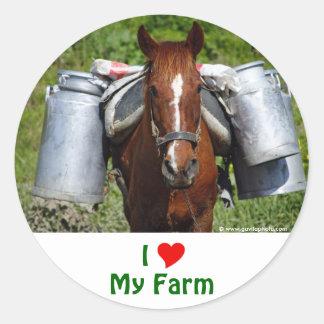 I Love My Farm Classic Round Sticker