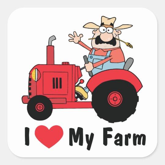 I Love My Farm Square Sticker