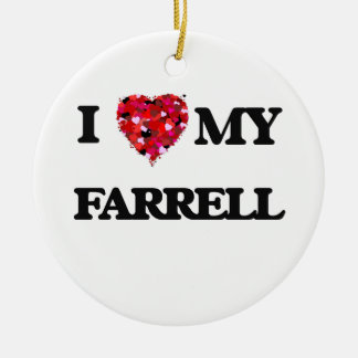 I Love MY Farrell Double-Sided Ceramic Round Christmas Ornament