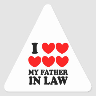I Love My Father In Law Triangle Sticker