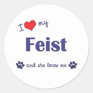 I Love My Feist (Female Dog) Classic Round Sticker