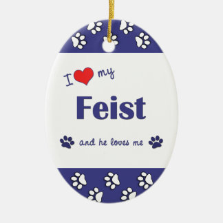 I Love My Feist (Male Dog) Ceramic Ornament