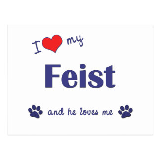I Love My Feist (Male Dog) Postcard