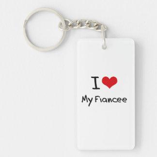 I Love My Fiancee Double-Sided Rectangular Acrylic Keychain