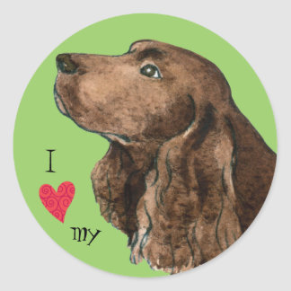 I Love my Field Spaniel Classic Round Sticker