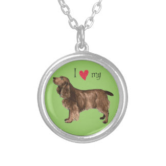 I Love my Field Spaniel Silver Plated Necklace