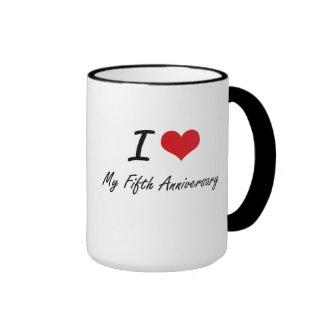 I Love My Fifth Anniversary Ringer Coffee Mug