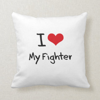 I Love My Fighter Throw Pillow