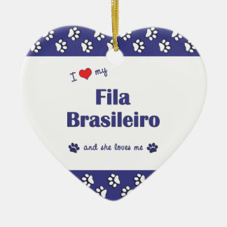 I Love My Fila Brasileiro (Female Dog) Double-Sided Heart Ceramic Christmas Ornament
