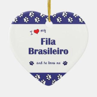 I Love My Fila Brasileiro (Male Dog) Double-Sided Heart Ceramic Christmas Ornament