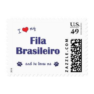 I Love My Fila Brasileiro (Male Dog) Postage Stamps